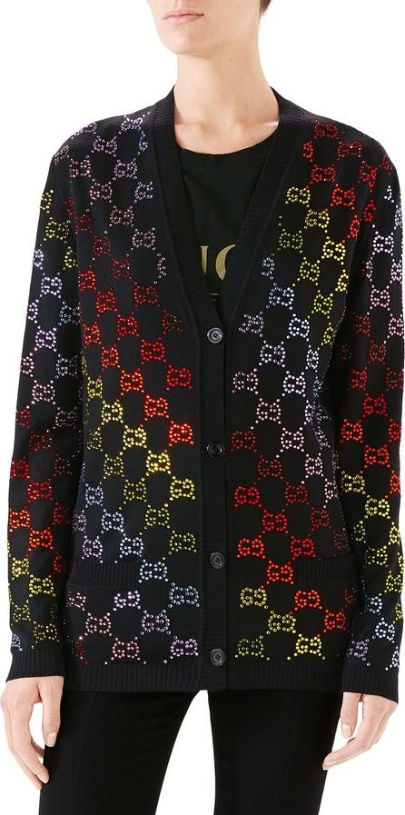 Gucci GG Rhinestoned Wool Cardigan