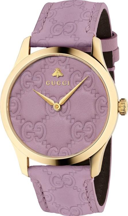 Gucci 38mm G-Timeless Logo Leather Watch, Purple