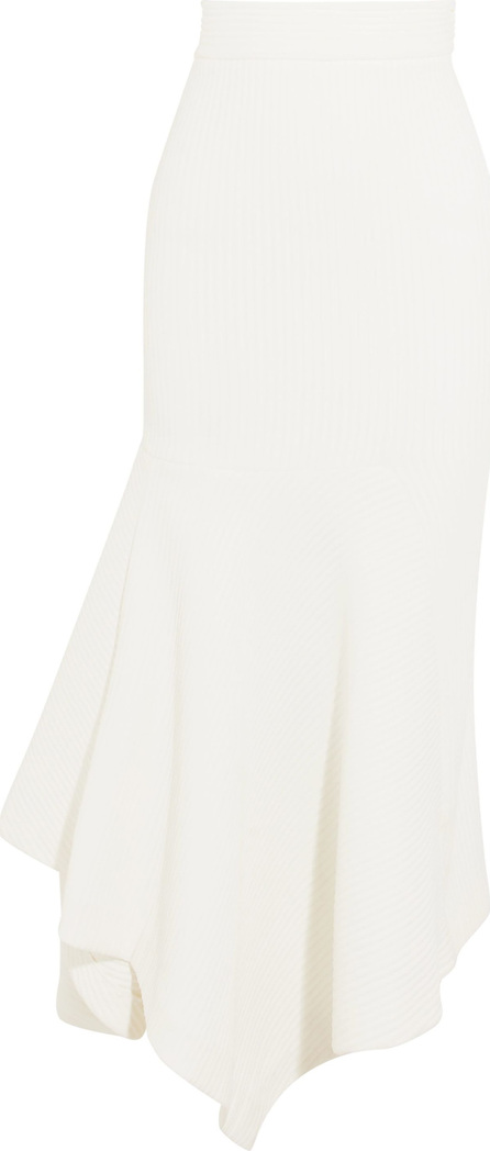 Wanda Nylon Asymmetric ribbed-knit midi skirt