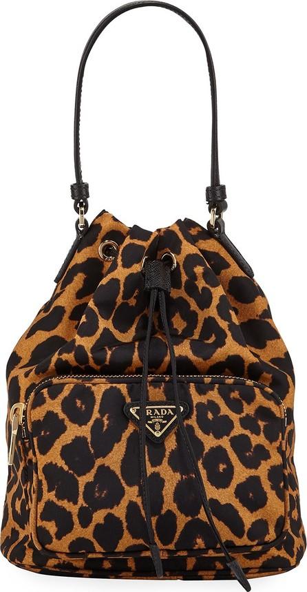 Prada Leopard-Print Drawstring Bucket Bag