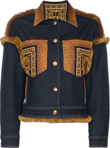 Versace Leopard print detail denim jacket