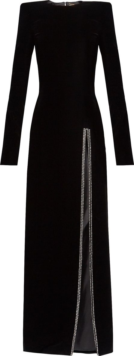 Saint Laurent Crystal-embellished slit-front velvet gown
