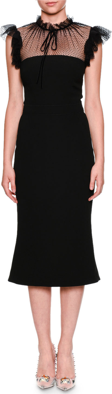 Dolce & Gabbana Tulle Tie-Neck Cady Cocktail Midi Dress