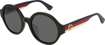 Gucci Round Striped-Arm Sunglasses, Black