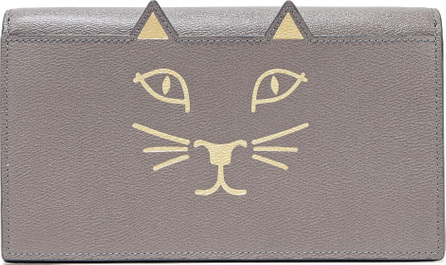 Charlotte Olympia Feline metallic printed textured-leather clutch