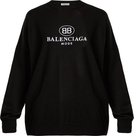 Balenciaga Logo-embroidered wool sweater