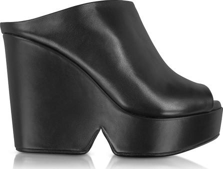 Robert Clergerie Dina Black Leather Wedge Mule
