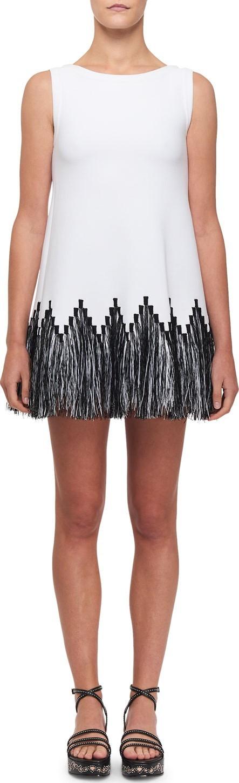 Alaïa Raffia-Fringe Tunic Dress