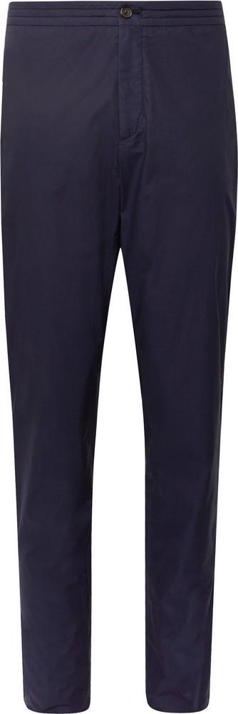 Ermenegildo Zegna Navy Garment-Dyed Stretch-Cotton Suit Trousers