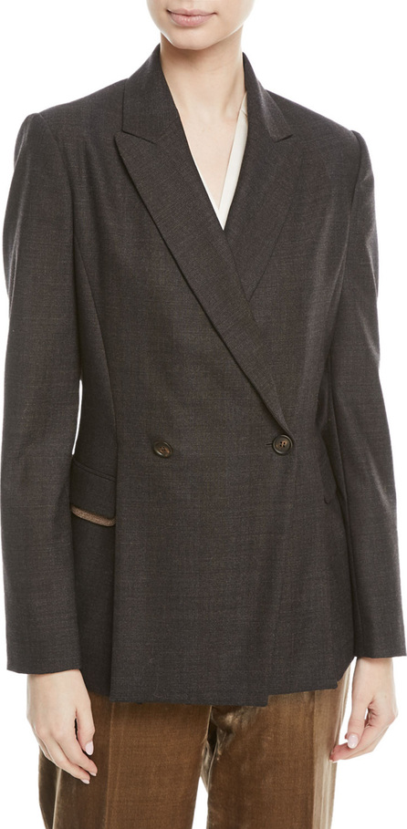 Brunello Cucinelli Double-Breasted Subtle-Plaid Wool Blazer with Monili Pocket