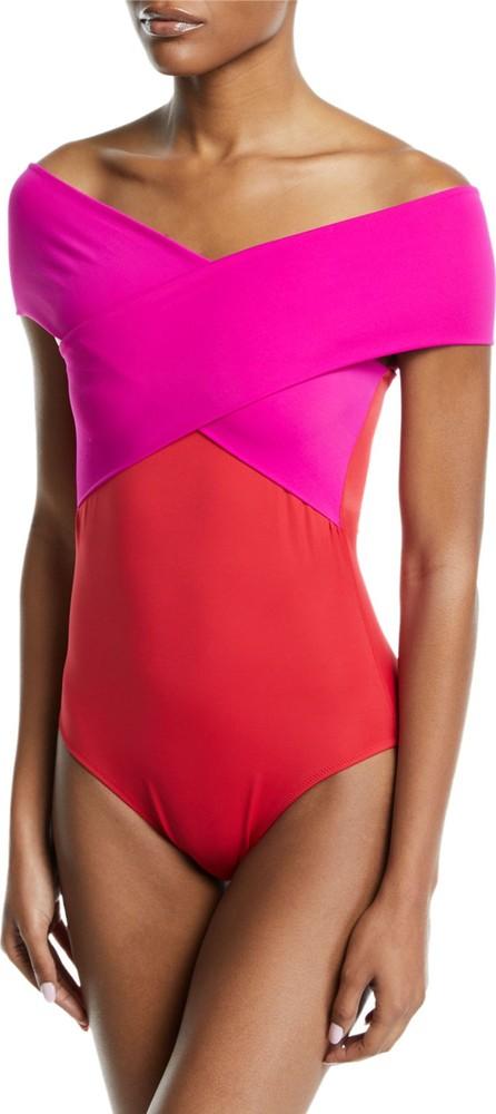 OYE Swimwear Zenia Off-the-Shoulder One-Piece Swimsuit