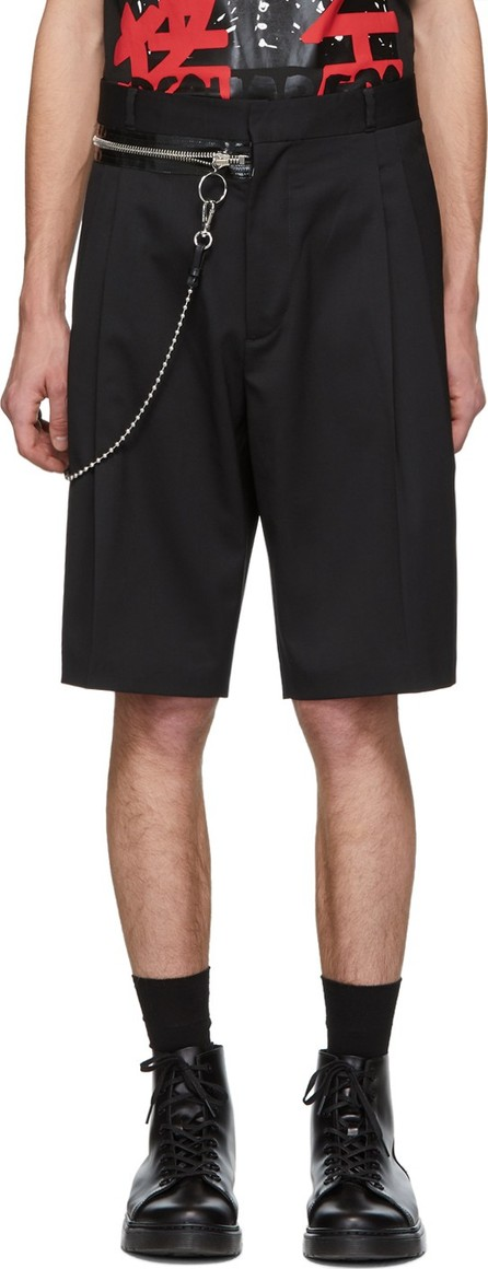 DSQUARED2 Black Wool Chain Rapper Shorts