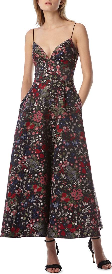 ML Monique Lhuillier Floral Jacquard Tea-Length Dress w/ Pockets