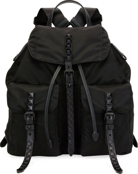 Prada Studded Bicolor Nylon Backpack