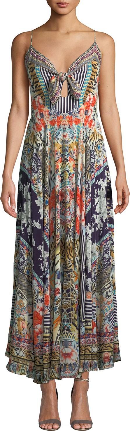 Camilla Printed Tie-Front Silk Maxi Dress