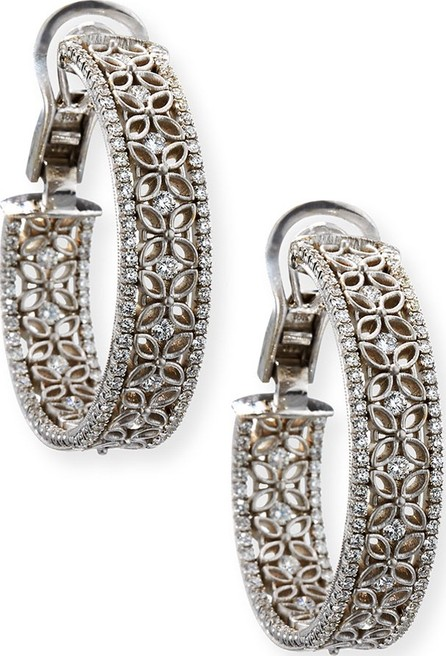 Jack Kelege & Company 18K White Gold Filigree Hoop Earrings with Diamonds