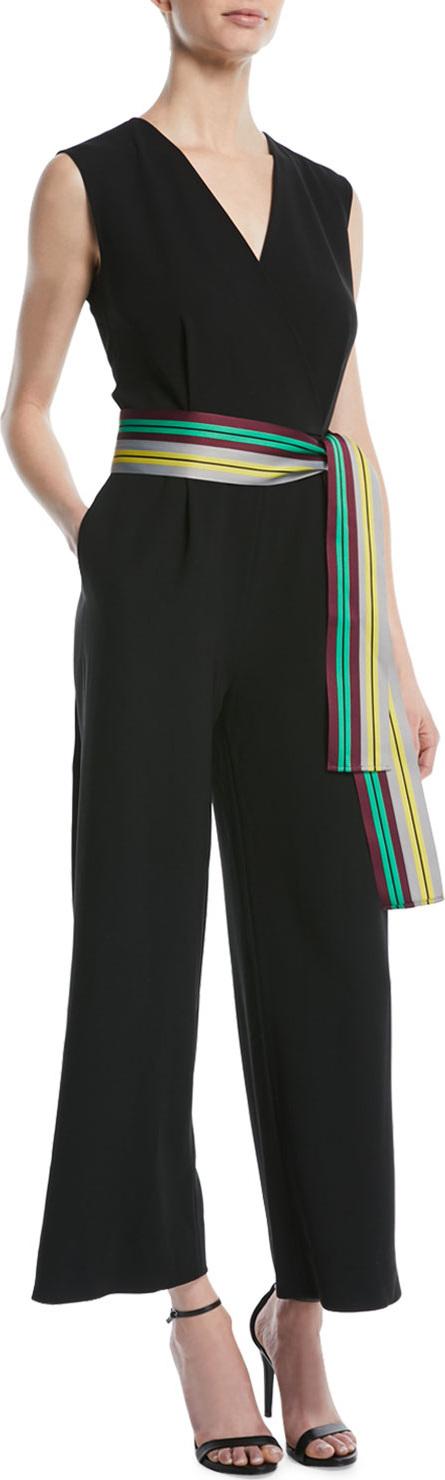 DIANE von FURSTENBERG Sleeveless Straight-Leg Belted Jumpsuit