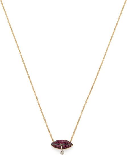 Delfina Delettrez Pierced lips 18kt gold & ruby necklace