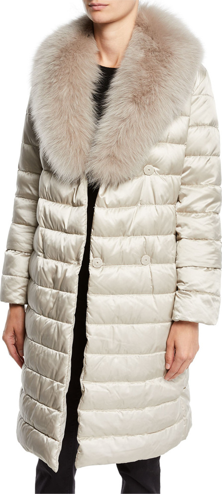 Max Mara Novedop Satin Down Jacket w/ Fur Accessories
