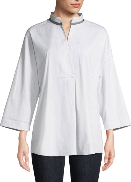 Lafayette 148 New York Dakota Mandarin-Collar Blouse