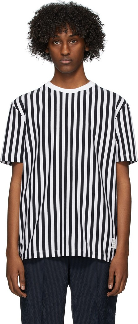 Thom Browne Navy & White RWB Bold Stripe T-Shirt