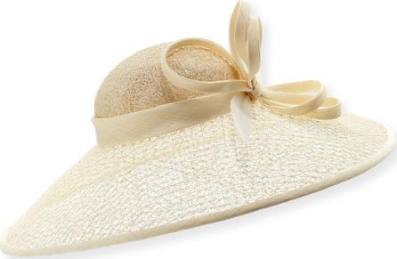 Rachel Trevor Morgan Textured Mesh Straw Hat w/ Twist & Feather Trim
