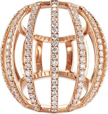 Dauphin Diamond 18k rose gold cage ring