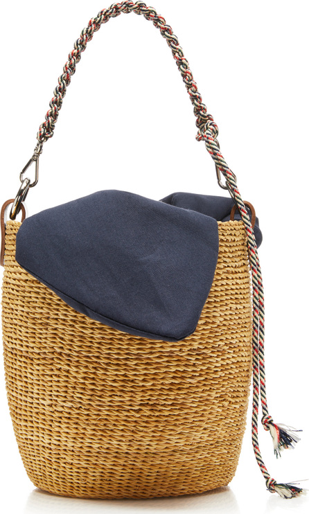 Muun Macrame-Trimmed Canvas And Straw Tote