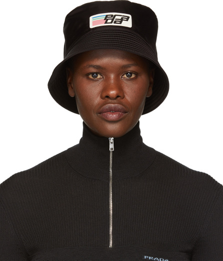 Prada Black Nylon Logo Bucket Hat