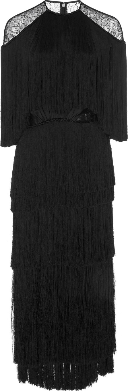 Prabal Gurung Tiered Fringe Silk Dress