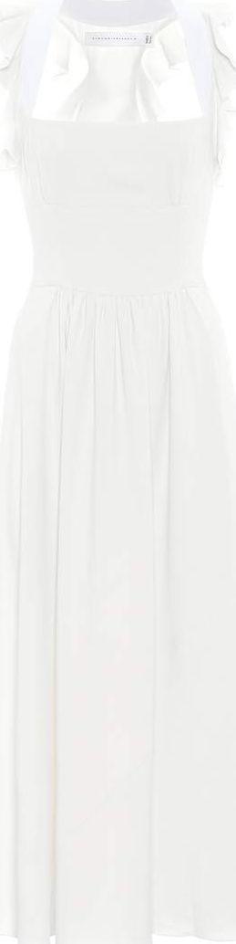 Victoria Beckham Leather-trimmed crêpe dress