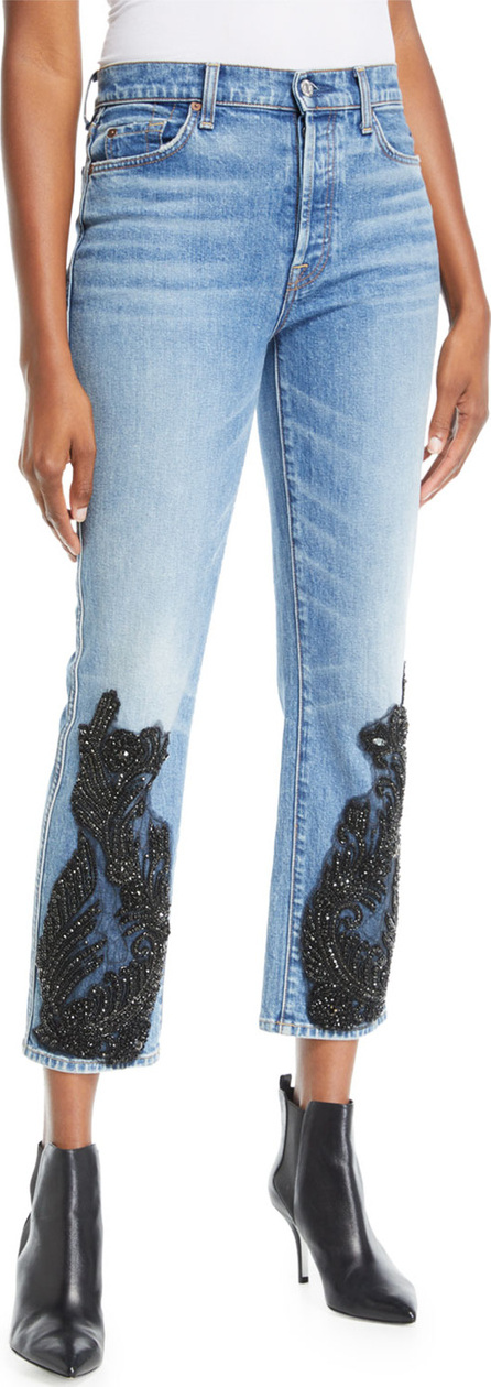 7 For All Mankind Edie Embellished Faded Straight-Leg Jeans