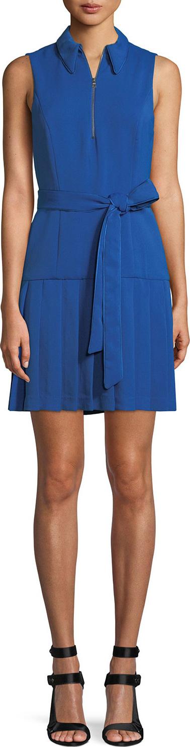 Alice + Olivia Zip-Front Sleeveless Pleated Shirtdress