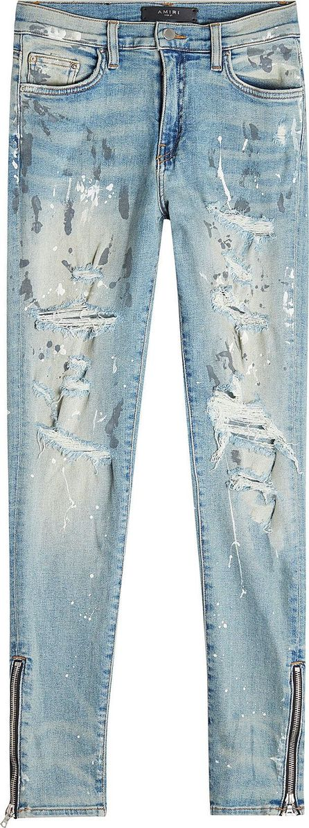 Amiri Distressed Skinny Jeans with Zipped Ankles