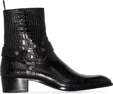 Saint Laurent Wyatt crocodile-effect boots