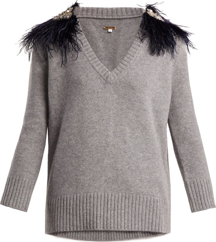 Johanna Ortiz Hierbatera feather-brooch cashmere sweater
