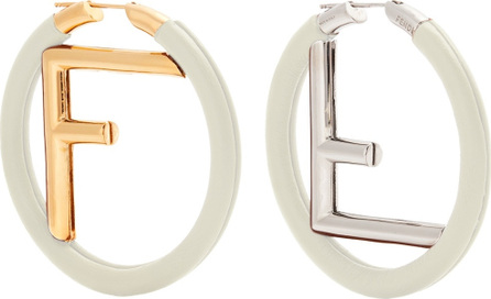 Fendi Leather-covered logo hoop earrings