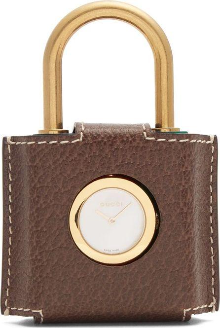 Gucci Constance Web-striped Plexiglas padlock watch