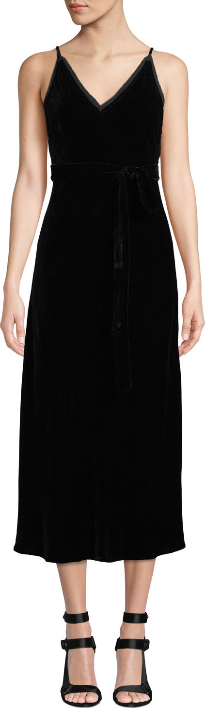 FRAME DENIM Sleeveless Velvet Midi-Length Slip Dress