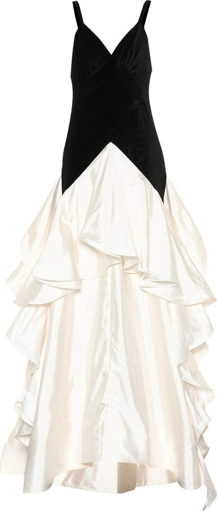 Rosie Assoulin Tiered cotton and velvet gown