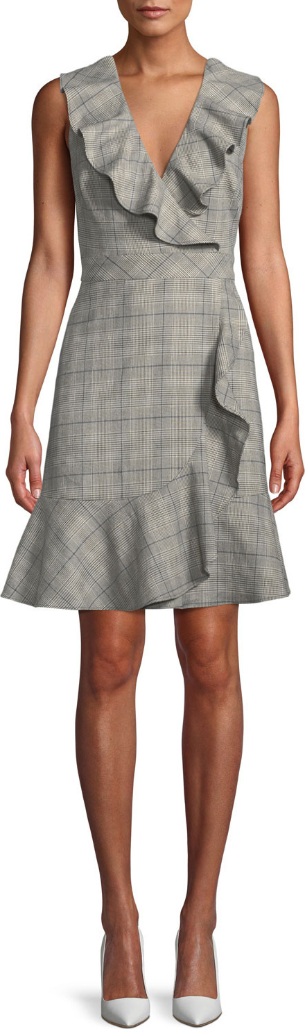 Kate Spade New York mod plaid a-line dress w/ ruffle trim