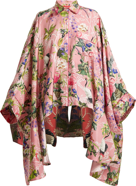 F.R.S For Restless Sleepers Oversized floral-print silk-twill blouse
