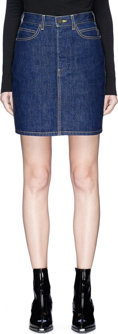 Calvin Klein 205W39NYC Brooke Shields patch A-line denim skirt