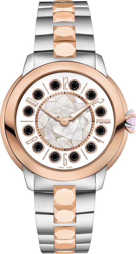 Fendi 33mm IShine Two-Tone Bracelet Watch w/Pink Topaz & Black Spinel