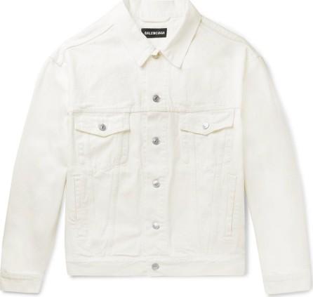 Balenciaga Oversized Logo-Embroidered Denim Jacket