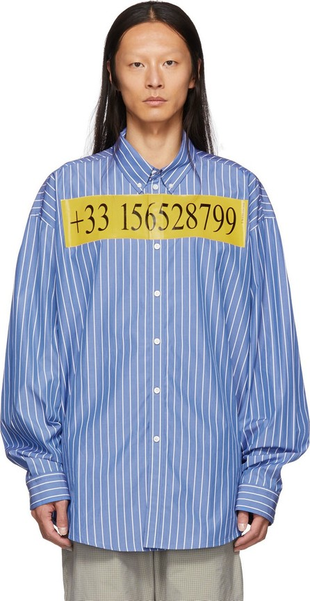 Balenciaga Blue College Stripe Number Shirt