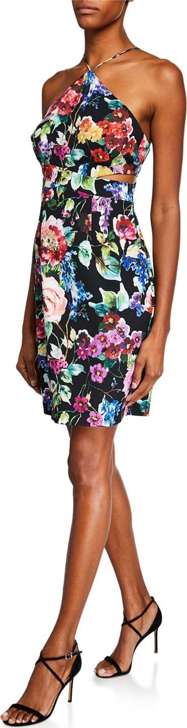 Aidan by Aidan Mattox Floral-Printed Crepe Halter Dress