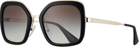 Prada Rimmed Square Metal Sunglasses
