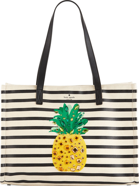 Kate Spade New York by the pool canvas pineapple tote bag