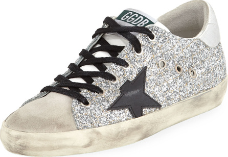 Golden Goose Deluxe Brand Superstar Glitter Fabric & Suede Low-Top Sneaker